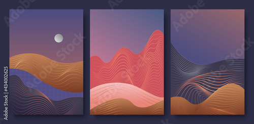 Fotografia, Obraz Abstract contemporary aesthetic night landscape with moon vector illustration set