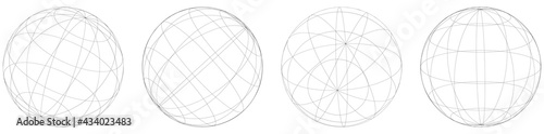 Wallpaper Mural Sphere, orb, ball with wireframe, grid, mesh surface