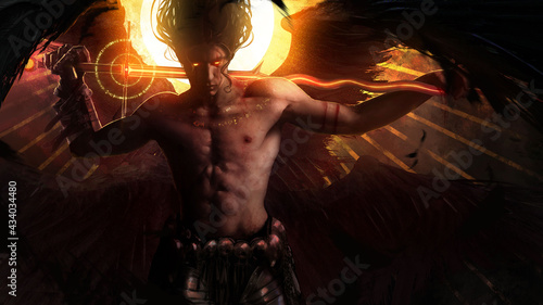 Tablou Canvas A muscular handsome male angel with black wings and demonic fiery eyes stands with his magic sword on his shoulders, against the background of a bright yellow sun