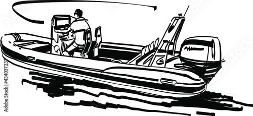 Canvastavla fishing boat on the sea