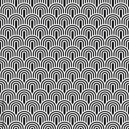 Art-Deco pattern, arches. Vector seamless pattern, made in Art-Deco style.