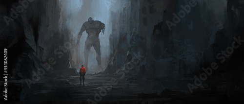 Obraz na płótnie Dialogue of survivors in the ruins after the war, 3D illustration