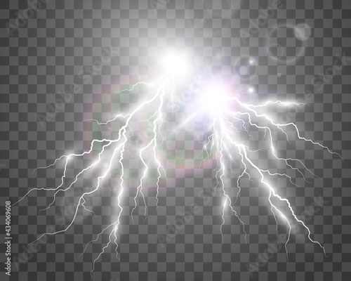 Wallpaper Mural Vector image of realistic lightning