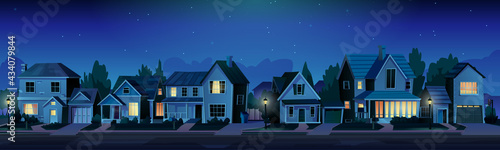 Fotografie, Obraz Urban or suburban neighborhood at night, houses with lights, late evening or midnight