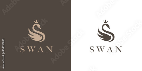 Tablou Canvas Elegant swan logo icon with royal crown