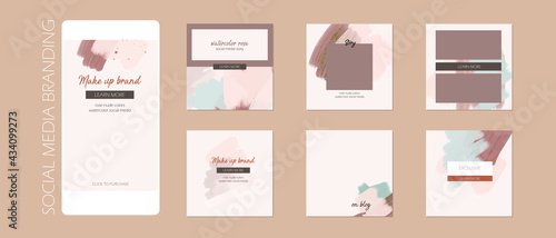 minimal abstract Instagram social media story post feed background layout, web banner template. pink nude pastel watercolor paint vector mock up. for beauty, jewelry, cosmetics, care, wedding, make up