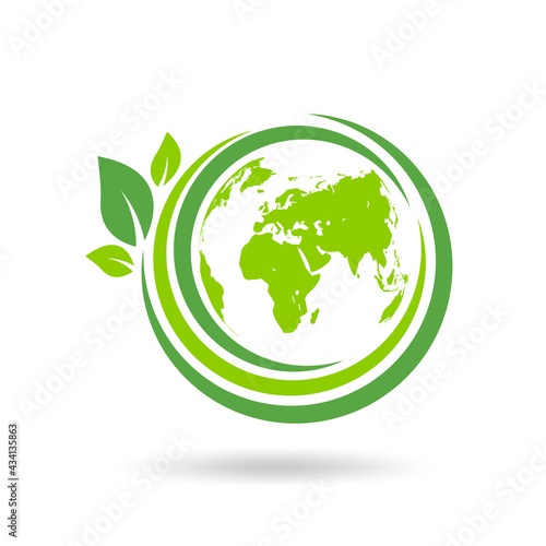Green ecology logo design for World environment day, Earth day, Eco friendly and Sustainability concept, Vector illustration
