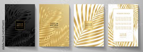Billede på lærred Tropical cover design set with palm branch (golden leaf) print on background