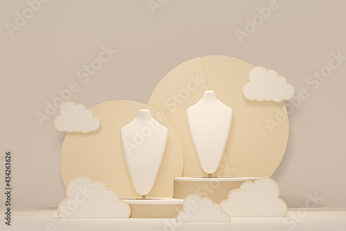 Fotografia, Obraz Bust showcase jewelry display for necklace pendant and cloud in a pastel background