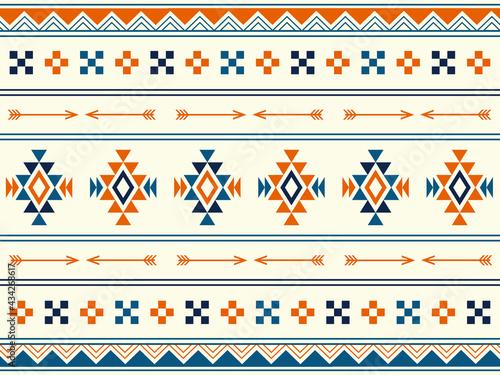 Fototapeta 南米風のネイティブパターンの背景素材
