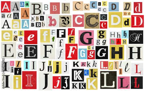 Paper cut letter newspaper magazine cutouts. Creative message Fototapet