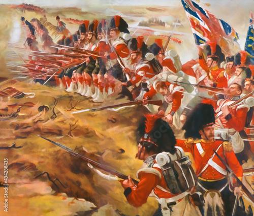 Obraz na plátne British soldier in 1850s. Illustration. 42 Highlanders