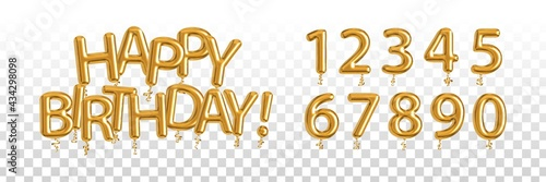 Vector realistic isolated golden balloon text of Happy Birthday with set of numbers on the transparent background Fototapet