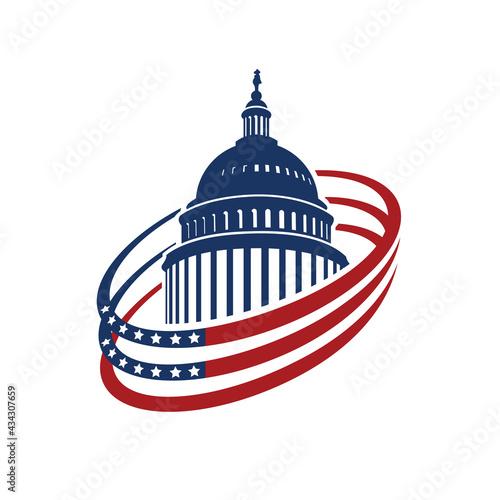 Stampa su Tela United States Capitol building icon in Washington DC isolated on white backgrpou