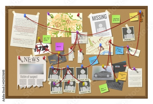 Leinwand Poster Crime investigation board, private detective or police officer officer vector co