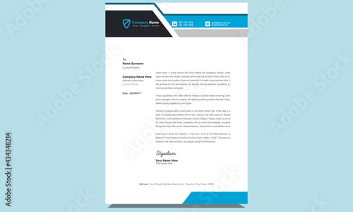 Obraz na plátne Unique clean fresh professional company corporate creative modern business letterhead design template with blue and black shapes