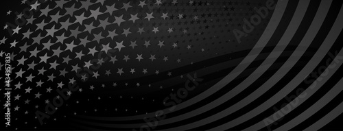 USA independence day abstract background with elements of american flag in black colors