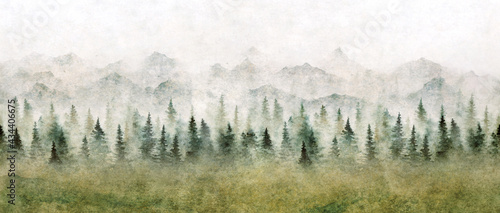Fotografie, Obraz Watercolor landscape of forest and mountains