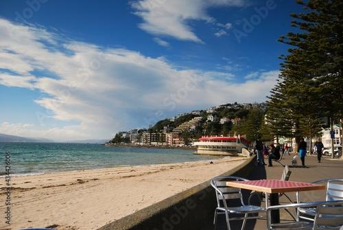 Obraz na plátně Wellington Seafront With Blue Sky