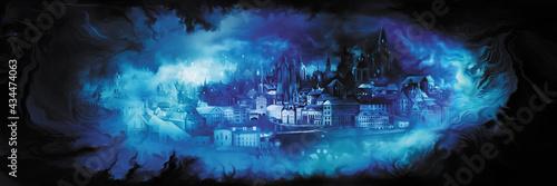 Fototapeta premium Fantasy vision city banner/Illustration horizontal banner with a dream of a fantasy town