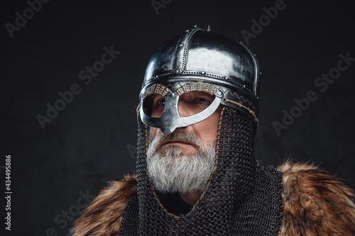 Stampa su Tela Headshot of medieval elder knight wearing helmet