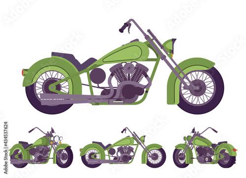 Fotografiet Chopper custom green decor classic motorcycle, bobber bike