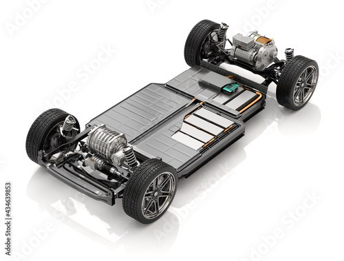 Fototapeta Cutaway view of Electric Vehicle Chassis with battery pack on white background