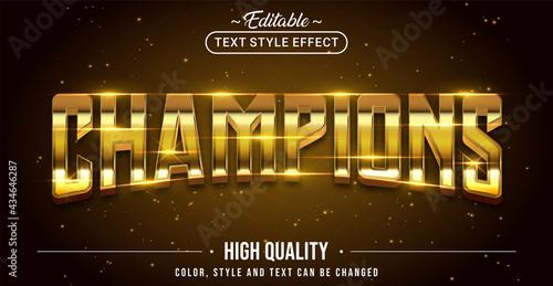 Obraz na plátne Editable text style effect - Champions text style theme.
