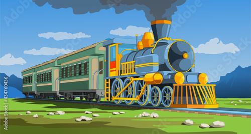 Fotografie, Obraz Vector coloful page with 3d model train and bright landscape