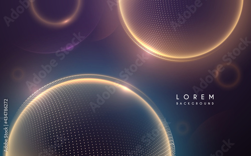 Wallpaper Mural Abstract light spheres background with dots