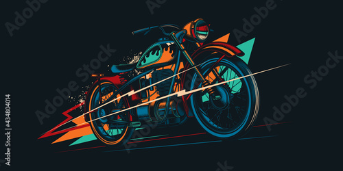 Original vector retro print motorcycle on abstract background rides on road. American motorcycle custom made. T-shirt Design