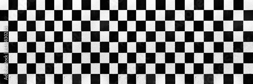 Tablou Canvas Panorama of White and black checkered ceramic tiles pattern and background seaml