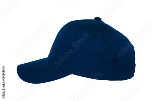 Fototapeta Baseball cap color navy close-up of side view on white background