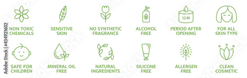 Organic and natural cosmetic line icons. Skincare symbol. Allergen free badges. Beauty product. Gluten and paraben free cosmetic. Non toxic logo. Eco, vegan label. Sensitive skin. Vector illustration