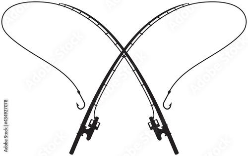 Fotografiet Fishing Rods crossed vector illustration