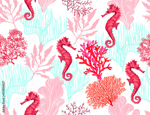 Beautiful seamless vector tropical pattern with corals, sea horse. Abstract geometric texture. Perfect for wallpapers, web page backgrounds, surface textures, textile.
