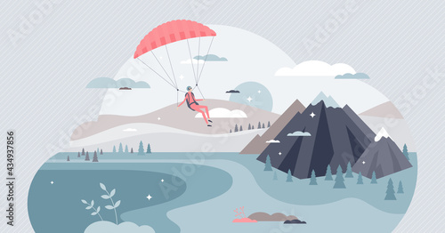 Paragliding sport with pilot flying in sky with glider tiny person concept. Mountain fly as extreme action adventure vector illustration. Hobby and leisure activity with beautiful sights experience.