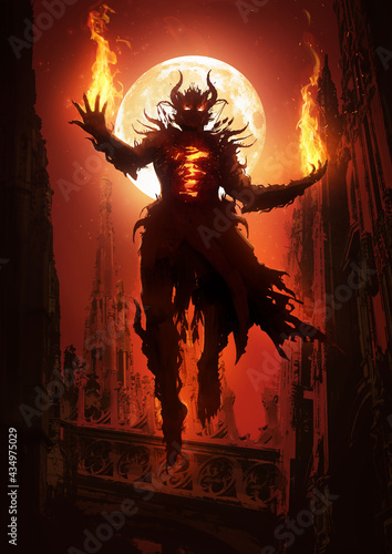 Fotografia A sinister demon looms majestically in the air in the midst of Gothic cathedrals, its chest bursting with mystical flames, fire burning in its clawed palms