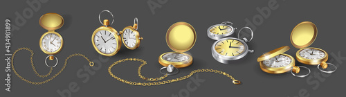 Valokuva Set with realistic 3d models of gold, chrome and silver pocket watches