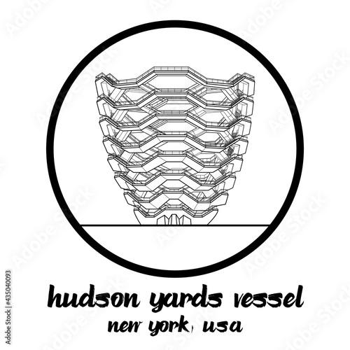 Fototapeta Circle icon Landmark Hudson Yards Vessel in Newyork USA
