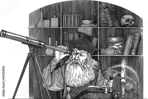 Leinwand Poster Black and white vector drawing of of an ancient astronomer looking to telescope