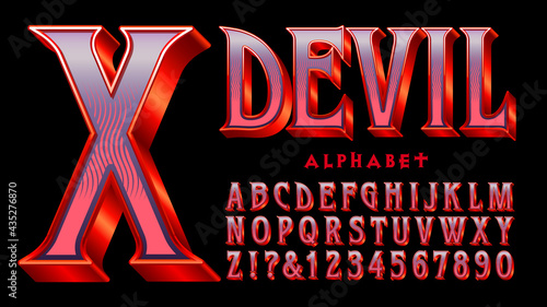 Photo Devil alphabet: A red and purple serif font with 3d and shiny gradient effects