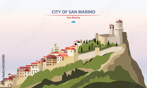 City of San Marino cityscape on sunset sky background vector illustration with country and city name and with flag of San Marino