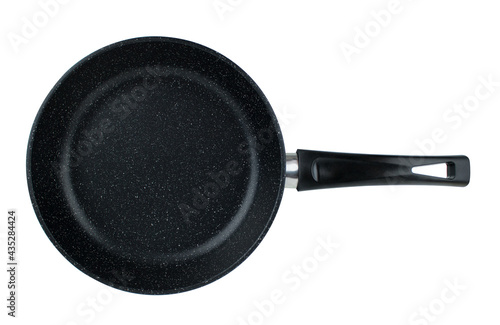 Photo Frying pan with black marble coating on white background