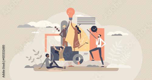 Teamwork creativity and new innovative idea development tiny person concept Fototapeta