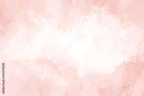 Abstract dusty blush liquid watercolor background with gold lines. Pastel rose marble alcohol ink drawing effect and golden foil cracks. Vector illustration design for wedding invitation
