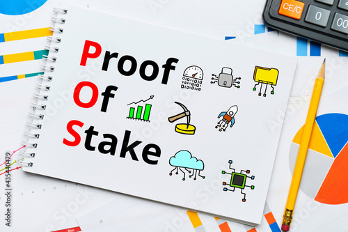 Fotografija Concept pos and Proof of Stake with abstract icons.