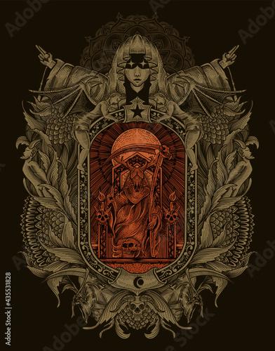Carta da parati illustration king satan on gothic engraving ornament style