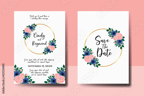Canvas Print Wedding invitation frame set, floral watercolor hand drawn Rose With anemone Flo