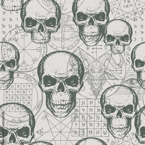 Wallpaper Mural Abstract seamless pattern with hand-drawn human skulls against a goat head, esoteric and occult symbols